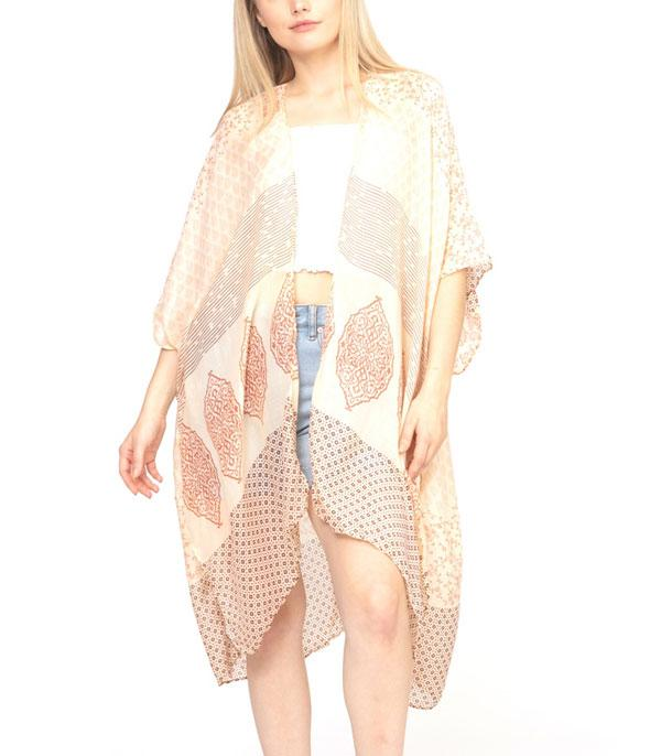 New Arrival :: Wholesale Mixed Print Boho Light Kimono