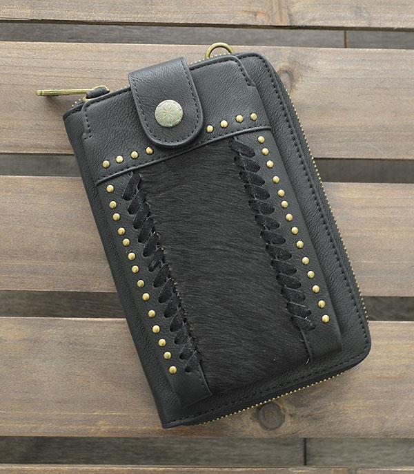 New Arrival :: Wholesale Trinity Ranch Cowhide Phone Wallet