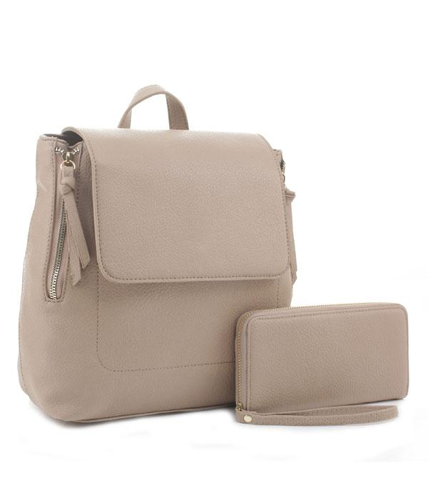 New Arrival :: Wholesale Faux Leather Fashion Backpack Wallet Set