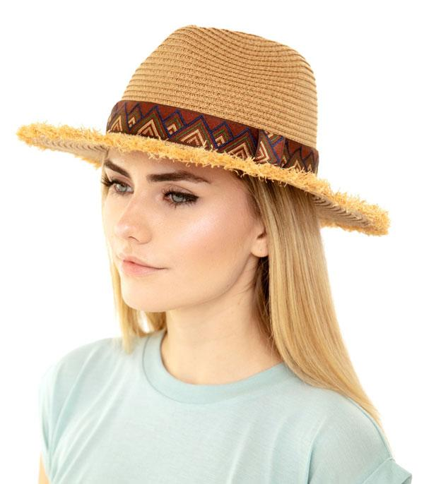 New Arrival :: Wholesale Frayed Trim Aztec Straw Hat