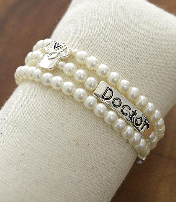 New Arrival :: Wholesale Doctor Themed Pearl Bracelet