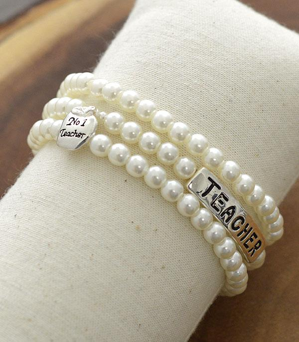 New Arrival :: Wholesale Teacher Themed Pearl Layered Bracelet