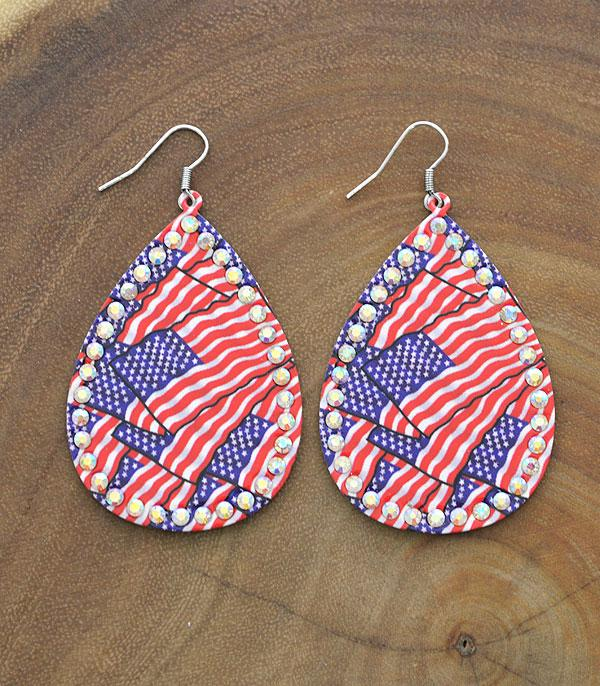 New Arrival :: Wholesale American Flag Teardrop Earrings