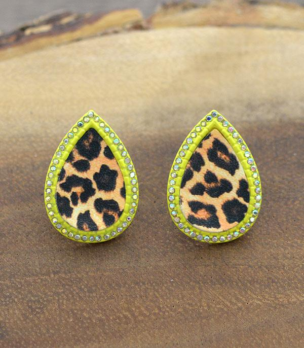 New Arrival :: Wholesale Leopard Teardrop Post Earrings