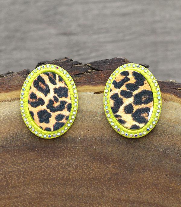 New Arrival :: Wholesale Leopard Oval Post Earrings