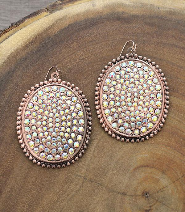 New Arrival :: Wholesale Oversized Light Metal Rhinestone Earring