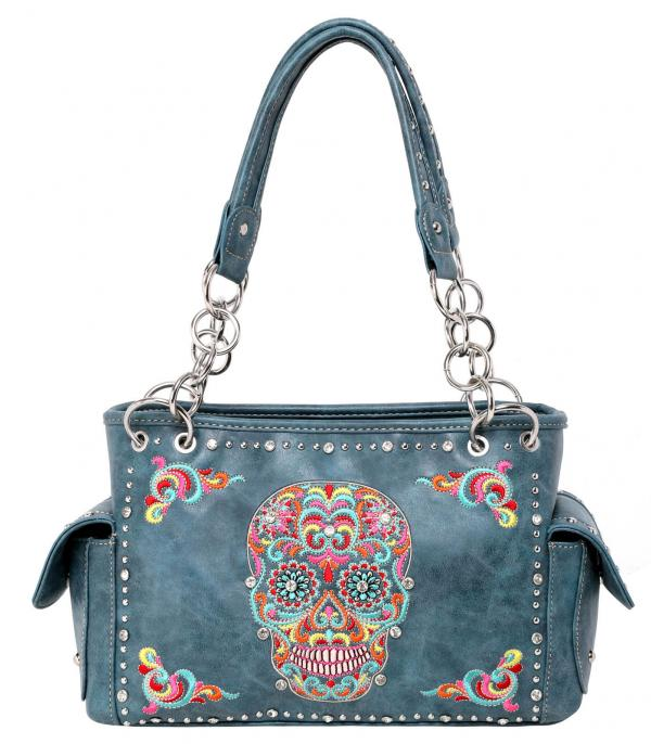 New Arrival :: Wholesale Sugar Skull Embroidered Concealed Bag