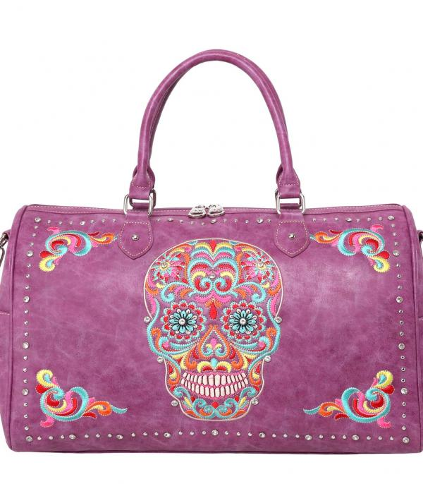 New Arrival :: Wholesale Sugar Skull Embroidered Overnight Bag