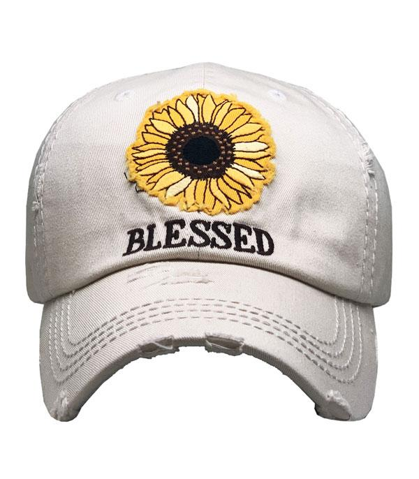 New Arrival :: Wholesale Blessed Sunflower Patch Vintage Ballcap