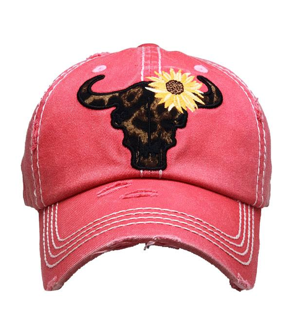 New Arrival :: Wholesale Leopard Sunflower Skull Vintage Ballcap