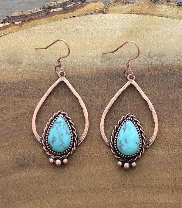 New Arrival :: Wholesale Western Turquoise Teardrop Earrings