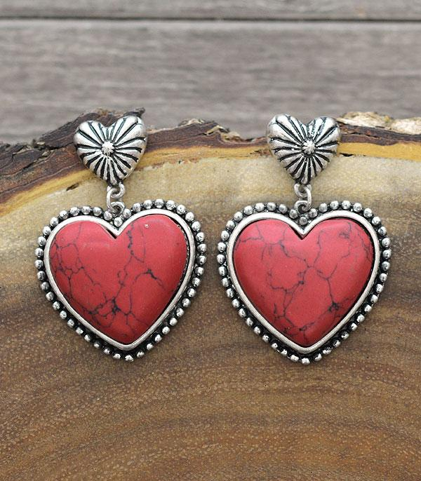 New Arrival :: Wholesale Western Turquoise Heart Earrings
