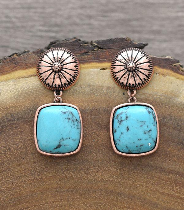 New Arrival :: Wholesale Western Turquoise Concho Post Earrings