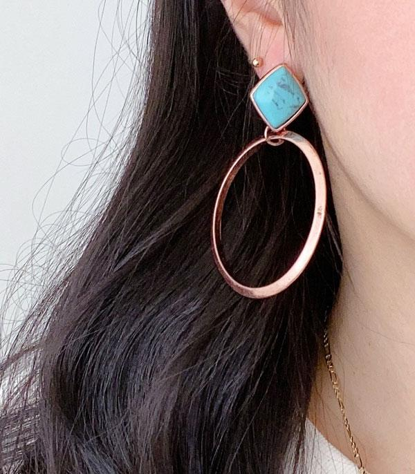 New Arrival :: Wholesale Western Turquoise Post Hoop Earrings
