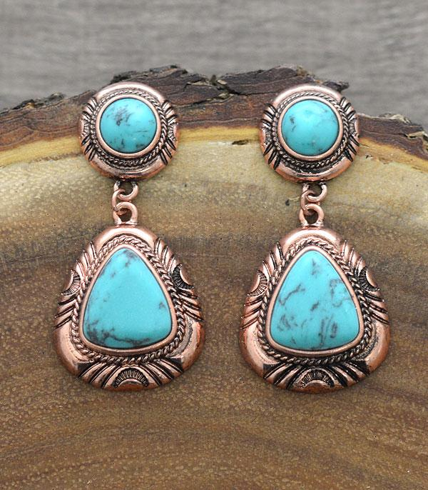 New Arrival :: Wholesale Western Turquoise Semi Stone Earrings