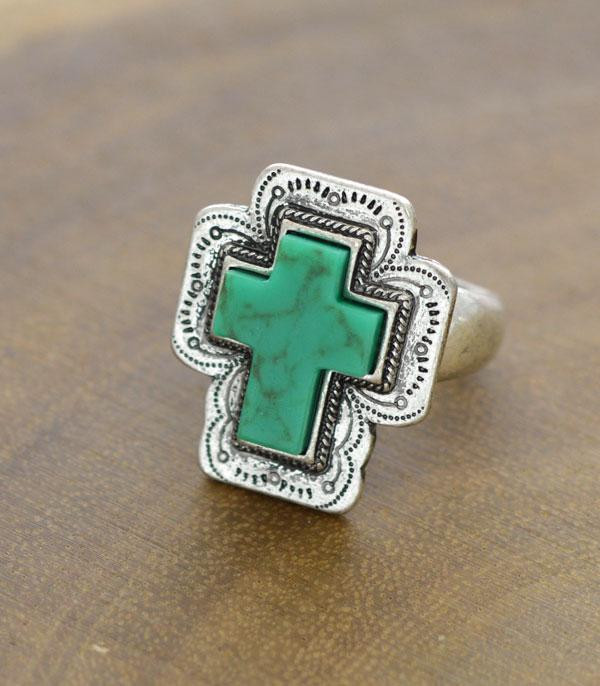 New Arrival :: Wholesale Tipi Turquoise Cross Stretch Ring