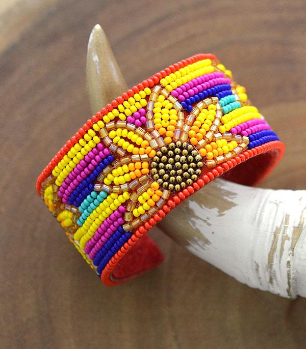 New Arrival :: Wholesale Seed Bead Sunflower Cuff Bracelet