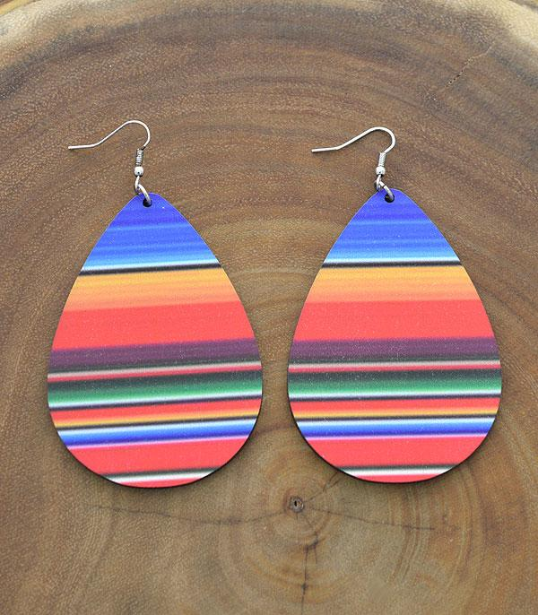 New Arrival :: Wholesale Tipi Serape Teardrop Wood Earrings