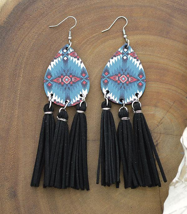 New Arrival :: Wholesale Navajo Teardrop Wood Tassel Earrings