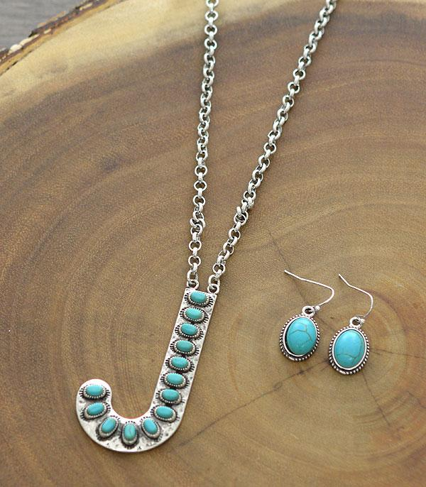 New Arrival :: Wholesale Tipi Initial Turquoise Pendant Necklace
