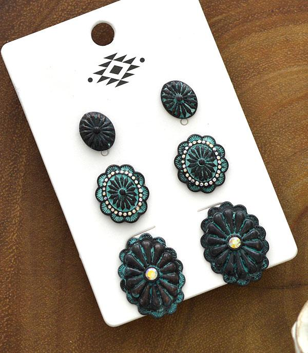 New Arrival :: Wholesale Western 3PC Set Earrings