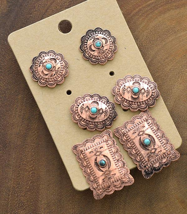 New Arrival :: Wholesale Western Concho 3PC Set Earrings