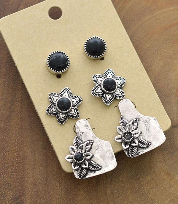 New Arrival :: Wholesale Western Cattle Tag 3PC Set Earrings