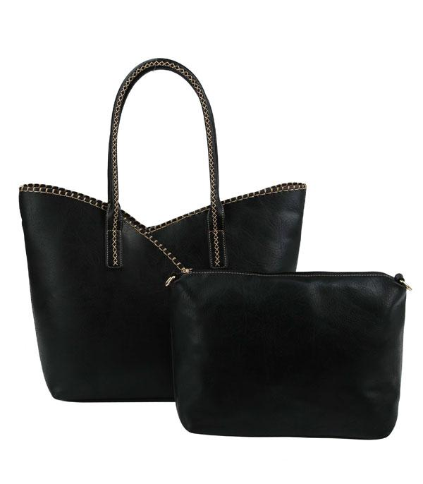 New Arrival :: Wholesale 2 In 1 Faux Leather Tote Bag