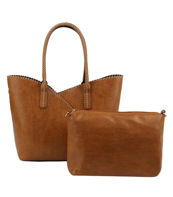 New Arrival :: Wholesale 2 In 1 Faux Leather Tote Set Bag