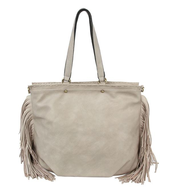 New Arrival :: Wholesale Faux Leather Fringed Tote Bag