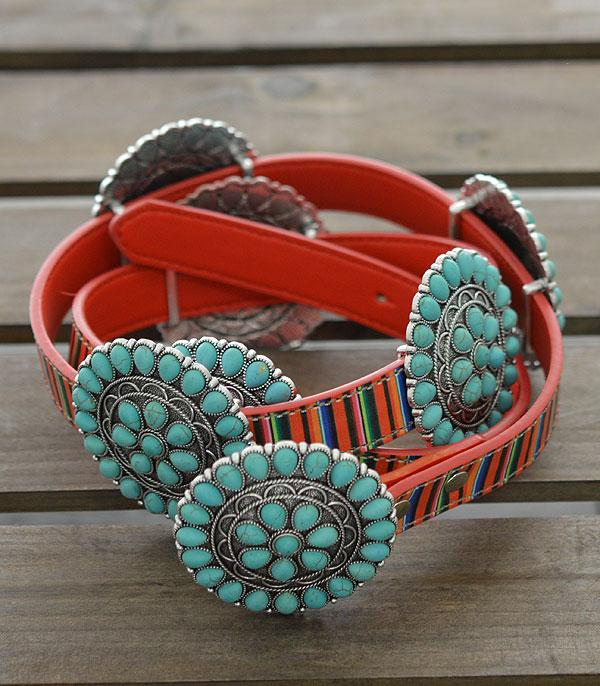 New Arrival :: Wholesale Western Turquoise Serape Belt