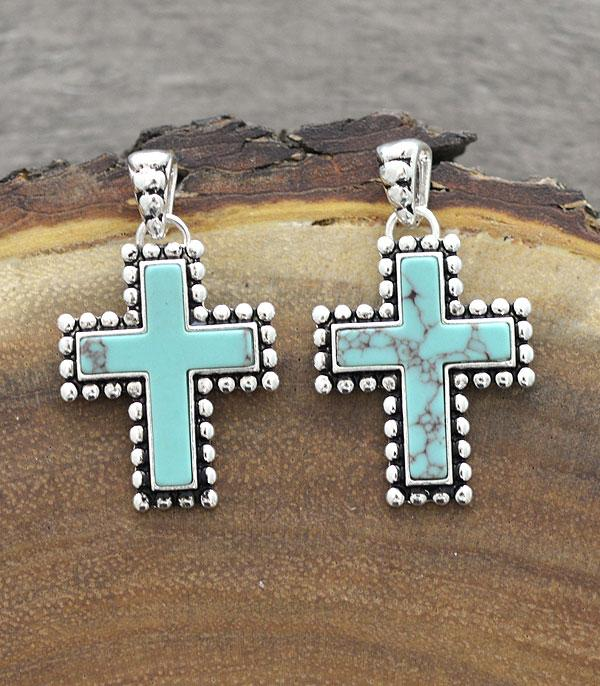 New Arrival :: Wholesale Turquoise Cross Dangle Earrings