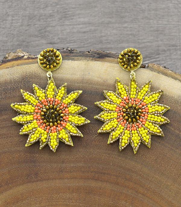 New Arrival :: Wholesale Seed Bead Sunflower Earrings
