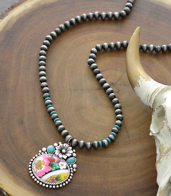 New Arrival :: Wholesale Floral Western Navajo Bead Necklace