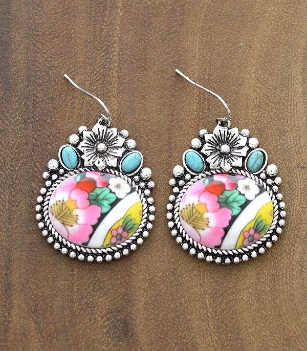 New Arrival :: Wholesale Floral Turquoise Western Earrings