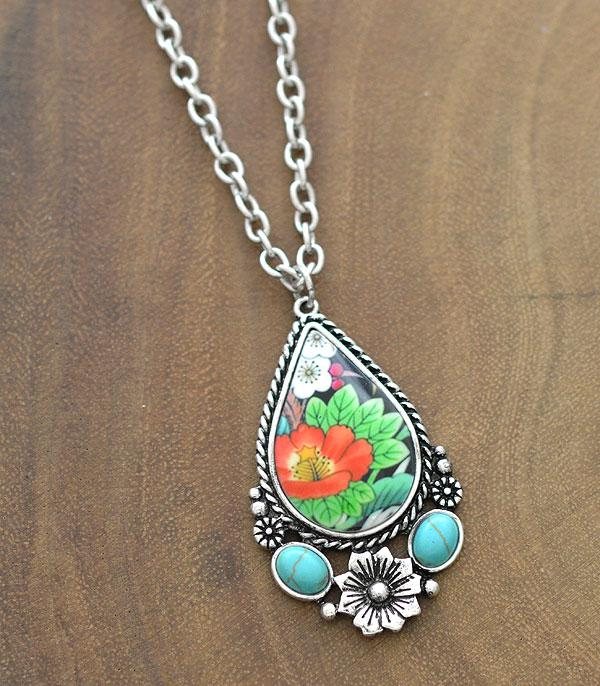 New Arrival :: Wholesale Floral Turquoise Western Necklace