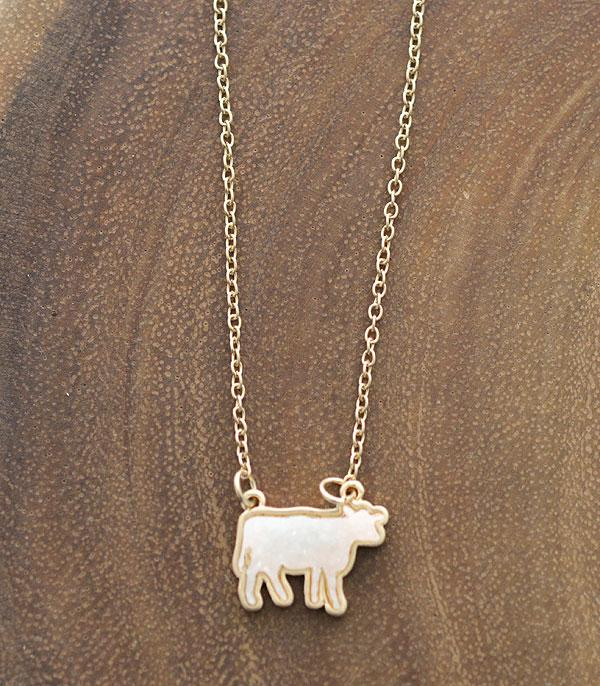 New Arrival :: Wholesale Druzy Farm Animal Cow Necklace