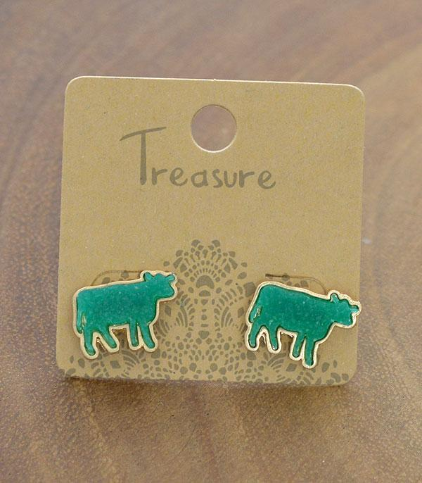 New Arrival :: Wholesale Druzy Farm Animal Cow Earrings