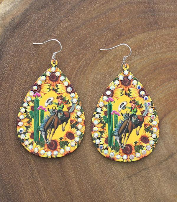 New Arrival :: Wholesale Vintage Cowboy Sunflower Earrings