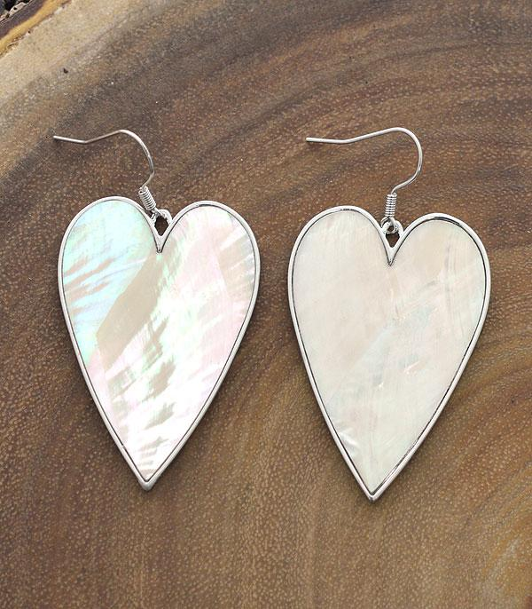 New Arrival :: Wholesale Mother Of Pearl Heart Dangle Earrings
