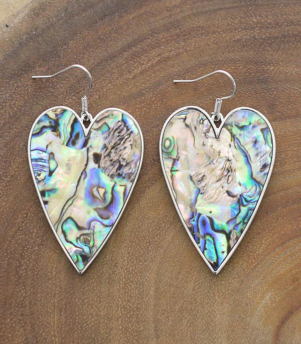 New Arrival :: Wholesale Abalone Heart Dangle Earrings