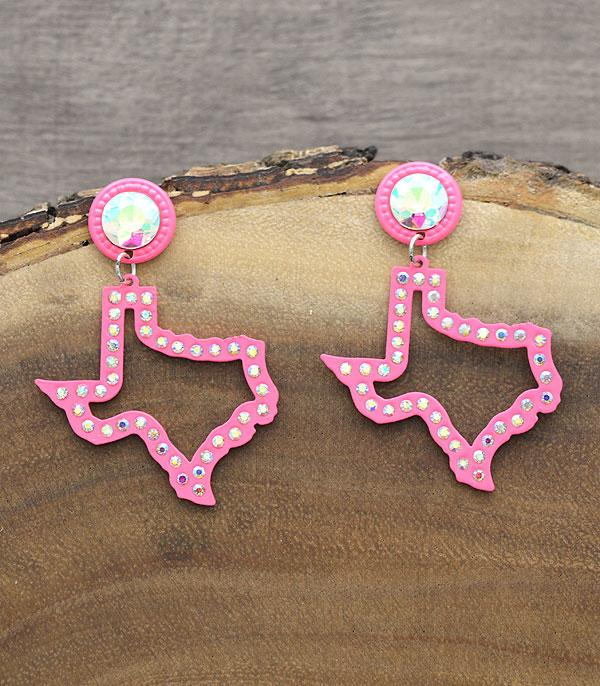 New Arrival :: Wholesale Texas Map Bling Stone Earrings