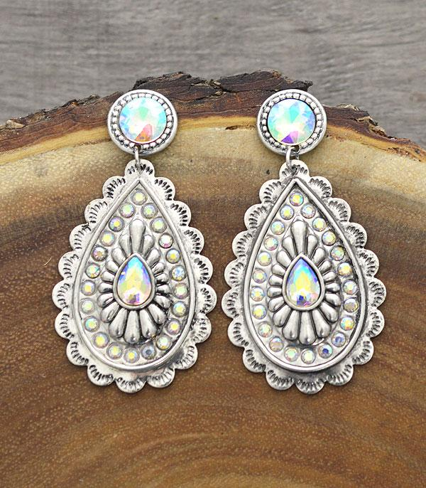 New Arrival :: Wholesale Light Metal Concho Stone Post Earrings