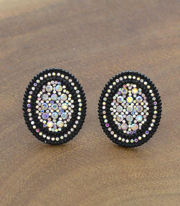 New Arrival :: Wholesale Oval Rhinestone Post Earrings
