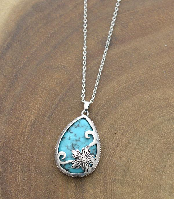 New Arrival :: Wholesale Flower Stone Teardrop Pendant Necklace