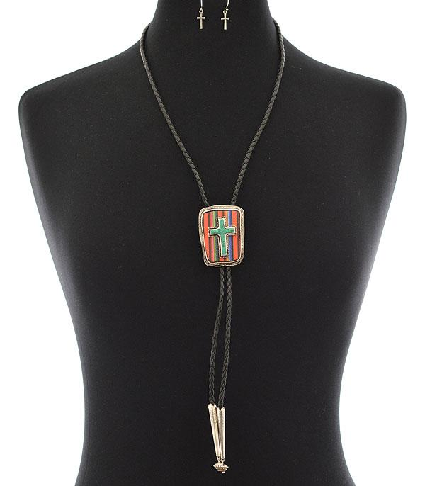 New Arrival :: Wholesale Tipi Western Cross Bolo Necklace