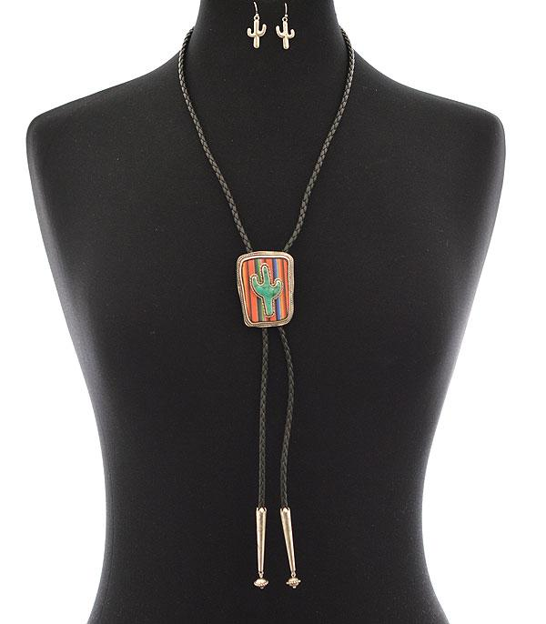 New Arrival :: Wholesale Tipi Western Cactus Bolo Necklace
