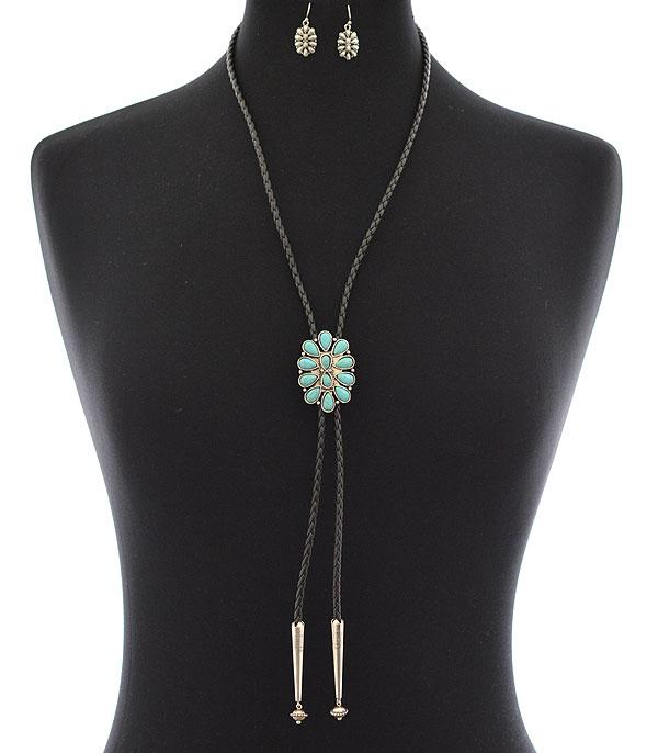 New Arrival :: Wholesale Tipi Western Turquoise Bolo Necklace