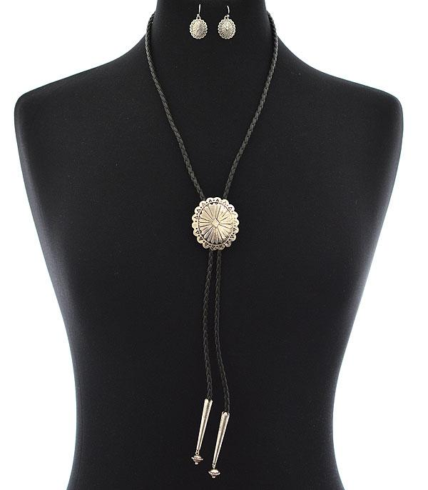 New Arrival :: Wholesale Tipi Western Concho Bolo Necklace